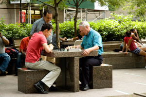 Chess Players in A New York Square